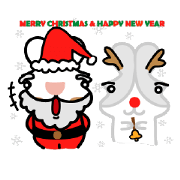สติ๊กเกอร์ไลน์ Rabbit Der & Apple (X'mas & New Year)