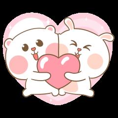 หมีนุ่มกับต่ายนิ่ม กอดกัน กอดกัน