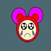 สติ๊กเกอร์ไลน์ Pink mouse face