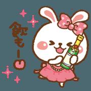 สติ๊กเกอร์ไลน์ Cute moving!lovely hostess rabbit