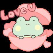 สติ๊กเกอร์ไลน์ Lazynfatty - GuaGua Frog Love