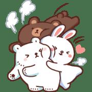 สติ๊กเกอร์ไลน์ หมีขาวแบค แบค × BROWN & FRIENDS