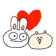 สติ๊กเกอร์ไลน์ rabbit and cat is friend!