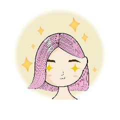 สติ๊กเกอร์ไลน์ The girl with pink hair