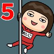 สติ๊กเกอร์ไลน์ Reiko wears training suit 5