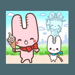 旅行が好きなウサギちゃんLINEスタンプ