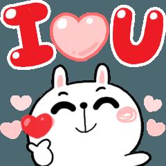 สติ๊กเกอร์ไลน์ N9: กระต่ายเชียร์ บอกรัก