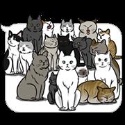 สติ๊กเกอร์ไลน์ The group of the cat came ขยับได้