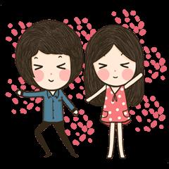 สติ๊กเกอร์ไลน์ หัวโต และ กาเบล :: คู่รักน่ารัก