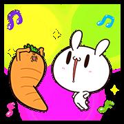 สติ๊กเกอร์ไลน์ กระต่ายขี้เล่นกับแครอทคู่ใจป๊อปอัพ
