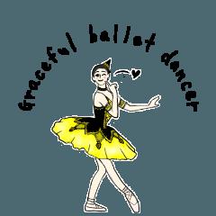 สติ๊กเกอร์ไลน์ Ballet girl casual Sticker