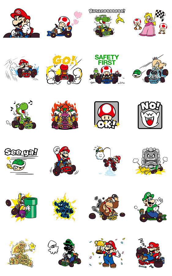 สติ๊กเกอร์ไลน์ Mario Kart GO!GO!