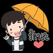 สติ๊กเกอร์ไลน์ ปันปัน 5 ขอบคุณสายฝน