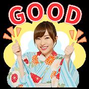 สติ๊กเกอร์ไลน์ AKB48 Kami 7 ป๊อปอัพในชุดยูคาตะ