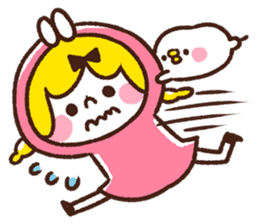 Girl and small animals. by Kanahei sticker #75840