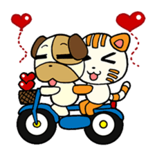 Cat and Dog dating sticker #84888