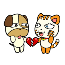 Cat and Dog dating sticker #84893