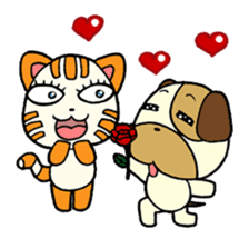 Cat and Dog dating sticker #84894