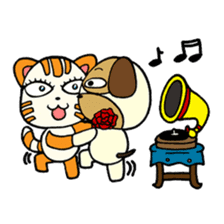 Cat and Dog dating sticker #84895