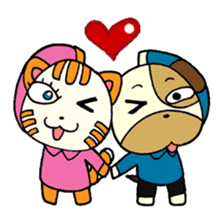 Cat and Dog dating sticker #84911