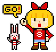 pixel boy & girl sticker #93190