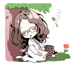 Stamp by Girl with glasses sticker #93992