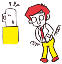 A red haired man's daily work sticker #102055