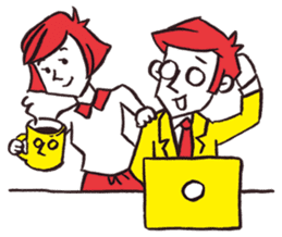 A red haired man's daily work sticker #102072
