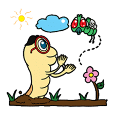 Funny Insects - crazy worm and cute fly sticker #133581