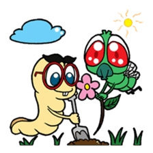 Funny Insects - crazy worm and cute fly sticker #133586