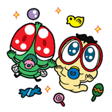 Funny Insects - crazy worm and cute fly sticker #133587