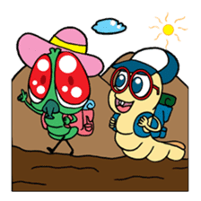 Funny Insects - crazy worm and cute fly sticker #133589