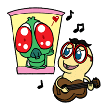Funny Insects - crazy worm and cute fly sticker #133596