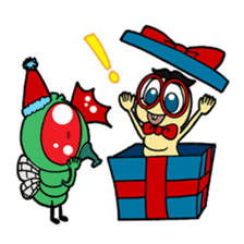 Funny Insects - crazy worm and cute fly sticker #133598