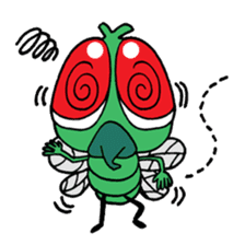 Funny Insects - crazy worm and cute fly sticker #133602