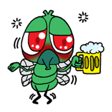 Funny Insects - crazy worm and cute fly sticker #133603