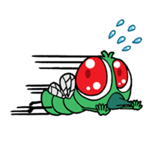 Funny Insects - crazy worm and cute fly sticker #133604