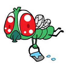 Funny Insects - crazy worm and cute fly sticker #133606
