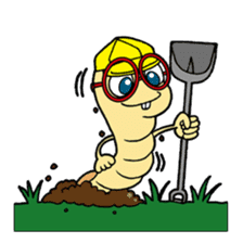 Funny Insects - crazy worm and cute fly sticker #133616