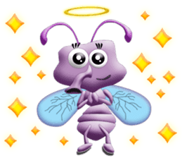 Funny Insects - Worm and Fly sticker #134430