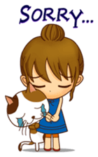 It is a pretty stamp calico cat and girl sticker #136420
