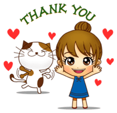 It is a pretty stamp calico cat and girl sticker #136421