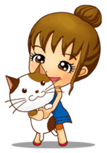 It is a pretty stamp calico cat and girl sticker #136425