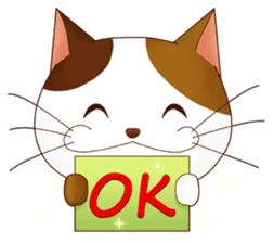 It is a pretty stamp calico cat and girl sticker #136428