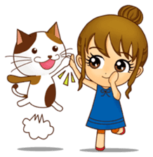 It is a pretty stamp calico cat and girl sticker #136430