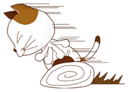 It is a pretty stamp calico cat and girl sticker #136433