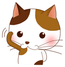 It is a pretty stamp calico cat and girl sticker #136443