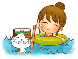 It is a pretty stamp calico cat and girl sticker #136448