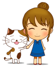 It is a pretty stamp calico cat and girl sticker #136456