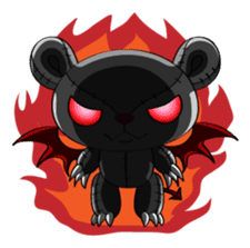 Zetsu - Little devil teddy bear sticker #139366
